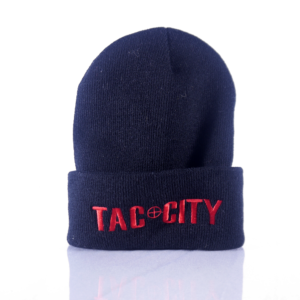 Tac City Black Beanie w/Red Lettering